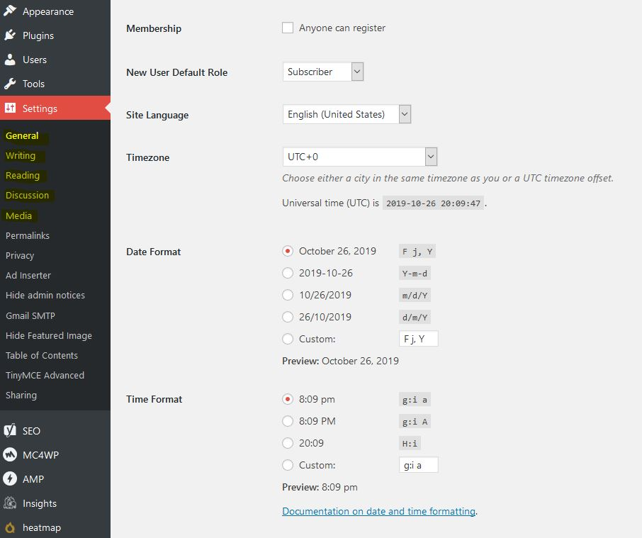 learnedgold.com - How to Navigate the WordPress Dashboard - Settings. JPG